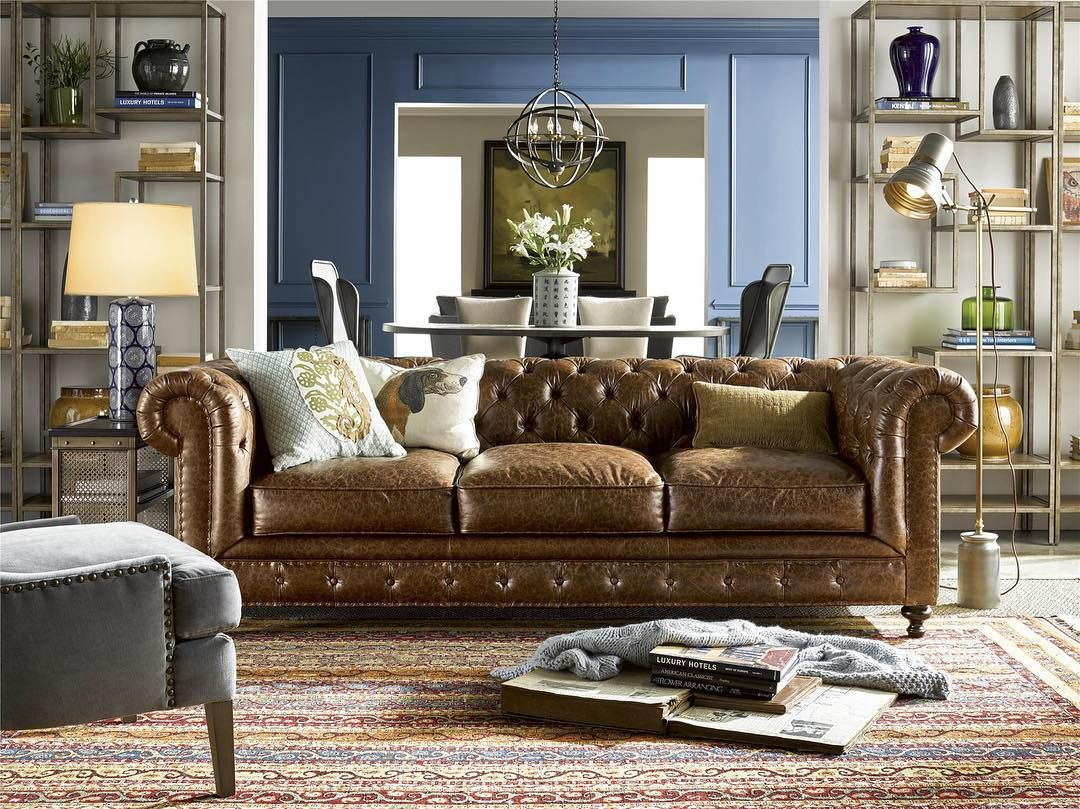 Tufted leather sofa, turkish rug and French industrial style ...