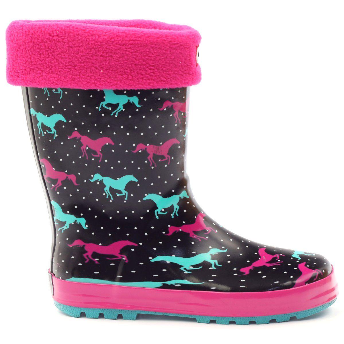 American Club Kalosze Skarpeta Wkladka American Konie Czarne Zielone Rozowe Rain Boots Boots Rubber Rain Boots