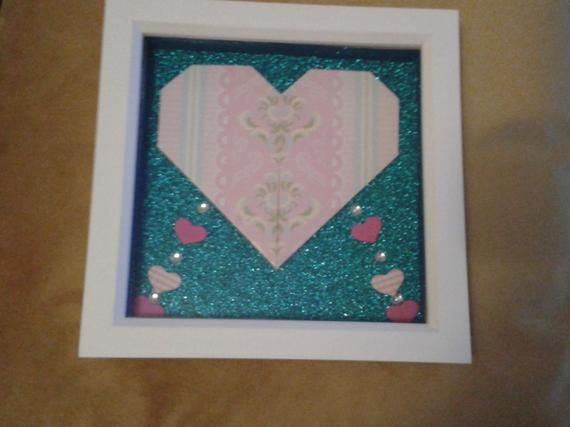 Photo of PINK ORIGAMI HEART Shadow Box frame – Birthday present/Gift.Anniversary Gift.Thank you gift