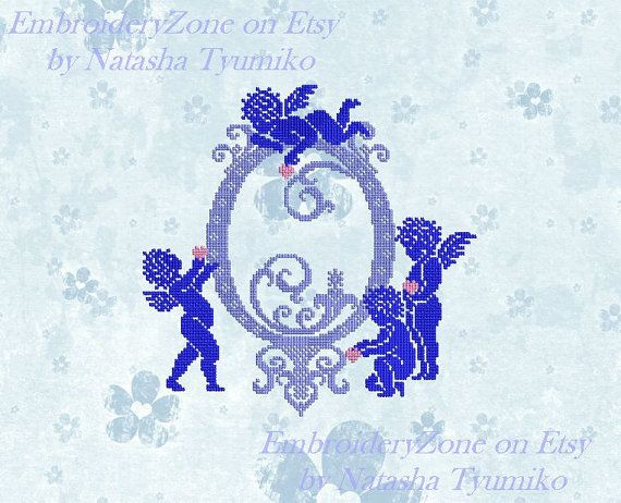 Monogram Letter O with angels. In style of от EmbroideryZone