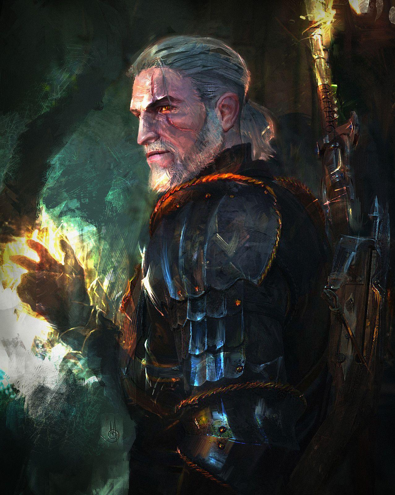 Geralt of Rivia (The Witcher), Murat Gül on ArtStation at https://www.artstation.com/artwork/l6Xze