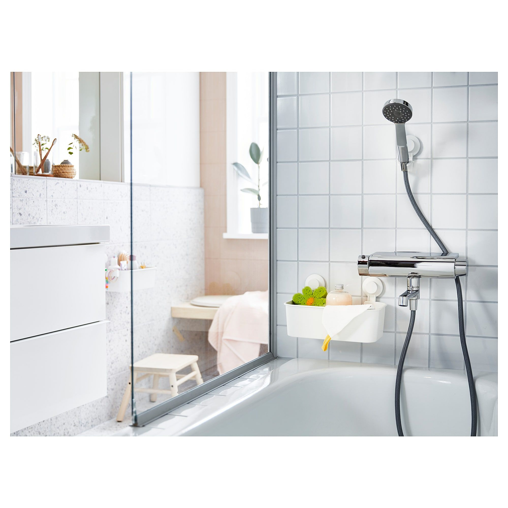 Ikea Tisken White Basket With Suction Cup Bathroom Storage Units
