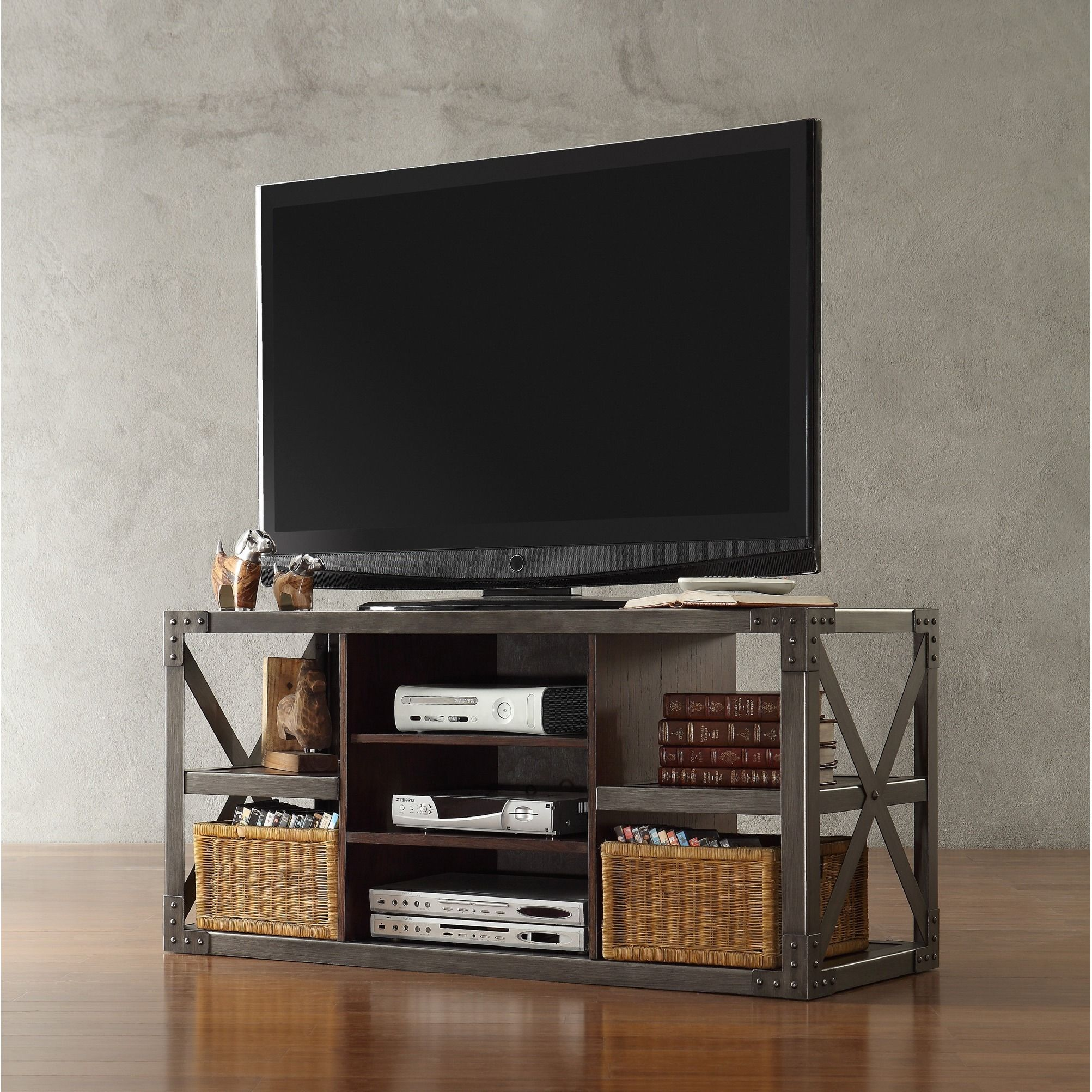 Innovative with an industrial feel, this vintage inspired media console  refreshes traditional style with mixed steel and wood finishes. The  minimalist yet ...
