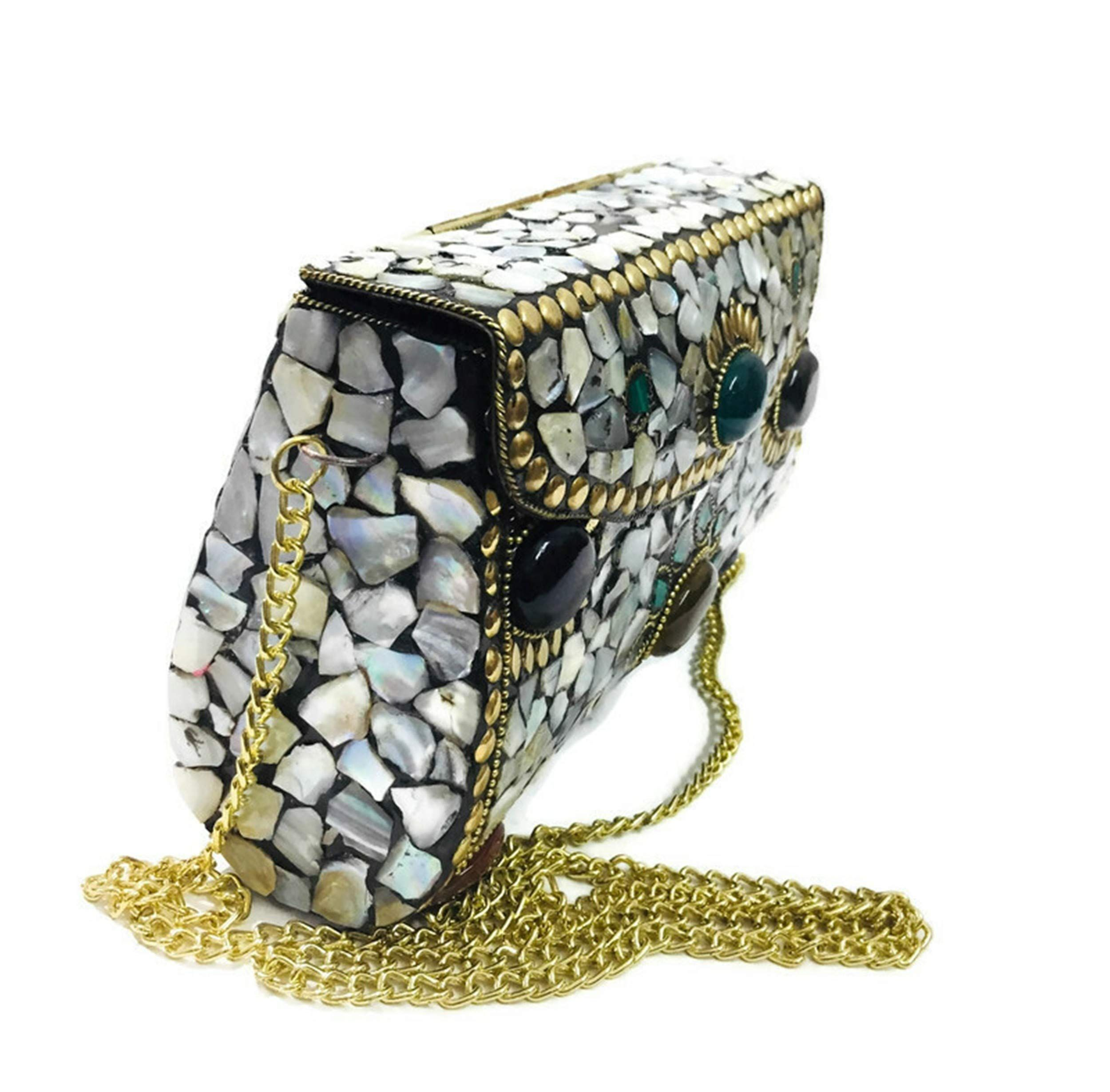 color white Bag Clutch Mosaic Metal Stone Ethnic Bridal Party Women Indian Purse