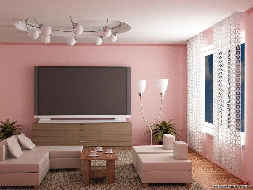 pink living room design ideas livingroom interior sweet pink wall painted with large lcd tv on - Interior Paint Design Ideas For Living Rooms