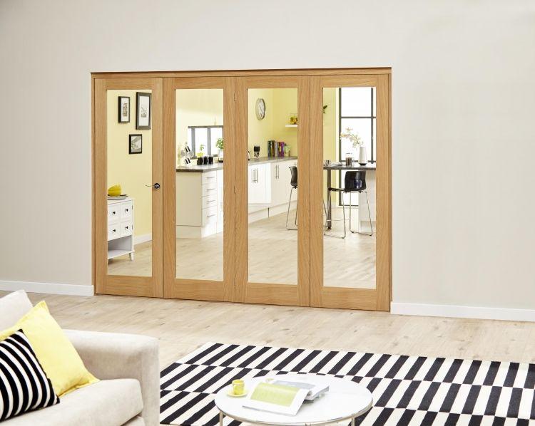 Glazed Oak - 4 Door Roomfold Deluxe (4 X 2 | Internal folding doors ...