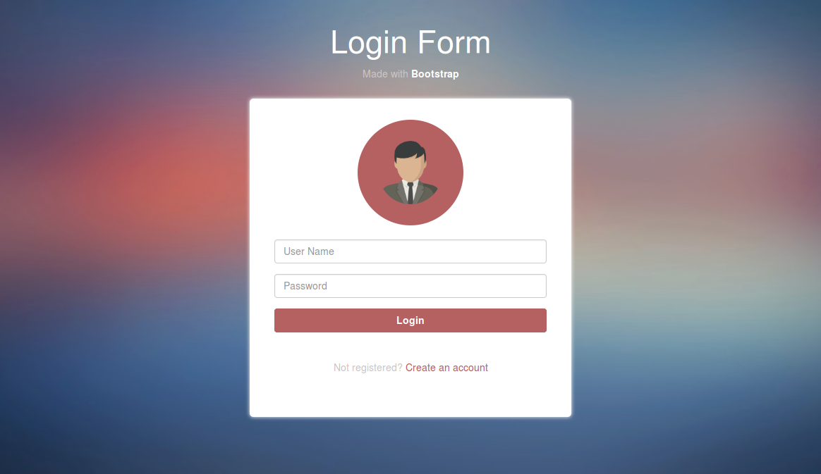 Example Of Login Form Design Using Bootstrap Link Https