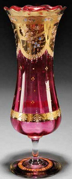 Moser Glass; Vase, Cranberry, Waisted Body on Stemmed Base, Gilt Enameled Floral Decoration, 12 inch.