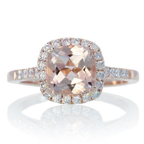 14k Rose Gold Cushion Cut Morganite Diamond Engagement Ring Halo