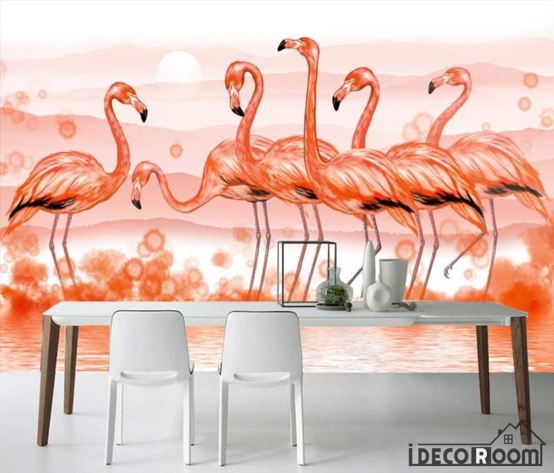 Modern minimalist flamingo Nordic wallpaper wall murals