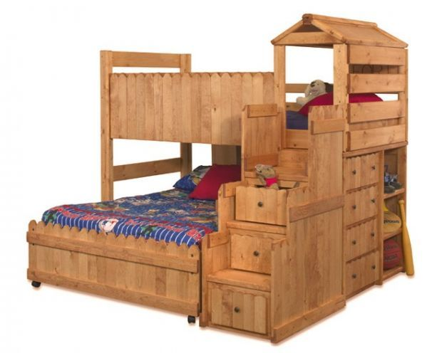 Camp Wildwood Twin Size Fort Stairway Loft Bed Cinnamon