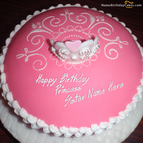 Write name on Princess Birthday Cake For Sister Happy