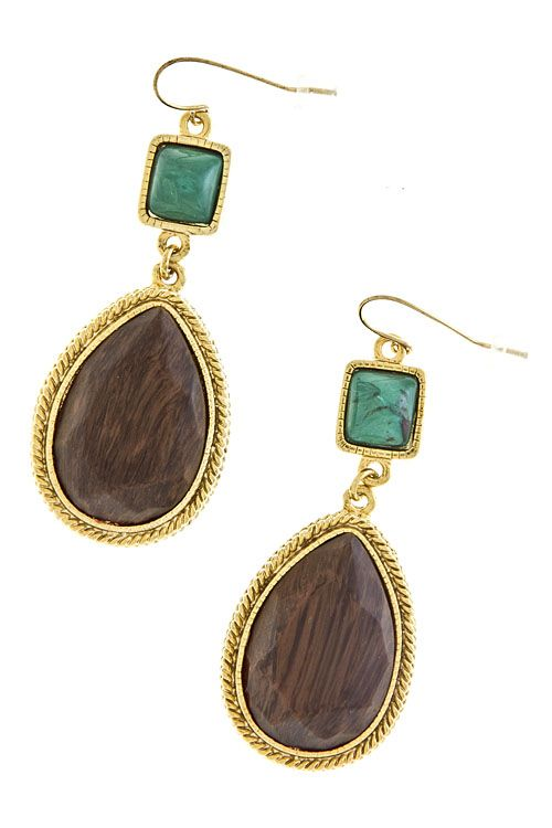 Super Cute Stone and Wood Earrings for Sale  Bellaccboutique.com