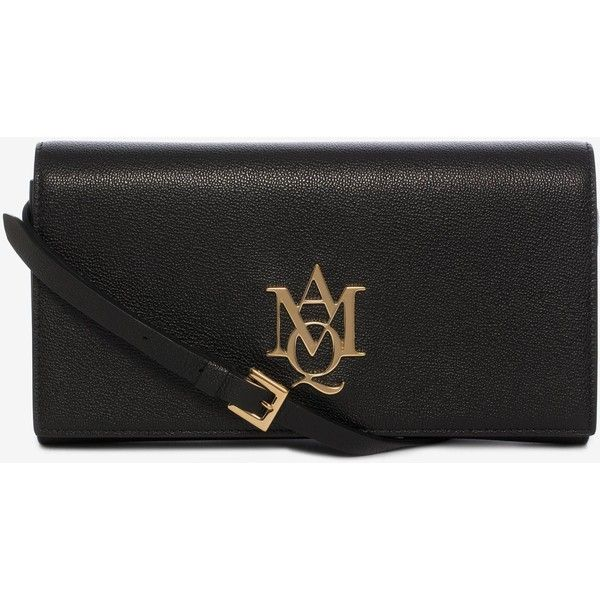 Alexander McQueen Amq Pouch With Strap ($640) ❤ liked on Polyvore featuring bags, handbags, clutches, black, strap pouch, strap purse, alexander mcqueen, pouch purse and alexander mcqueen clutches