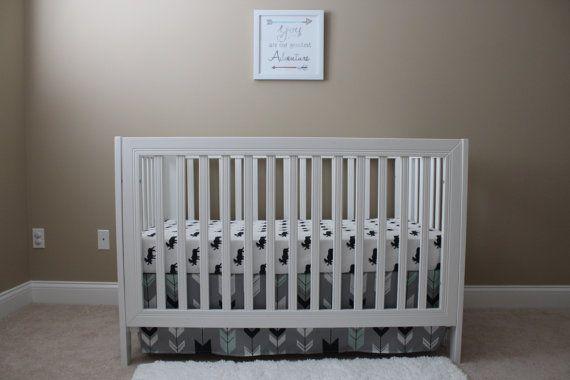 Arrow Crib Skirt// Woodland Theme Crib Skirt// by Lillybrookebaby