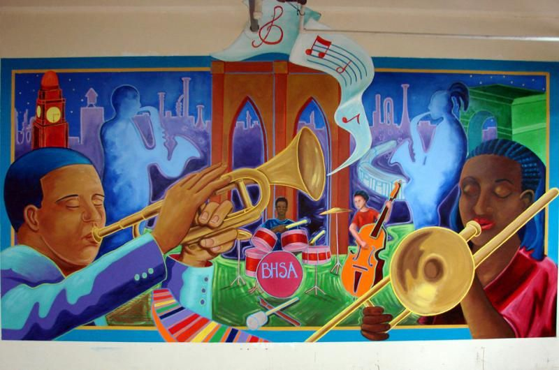Brooklyn high school of the arts band room mural for Classroom mural