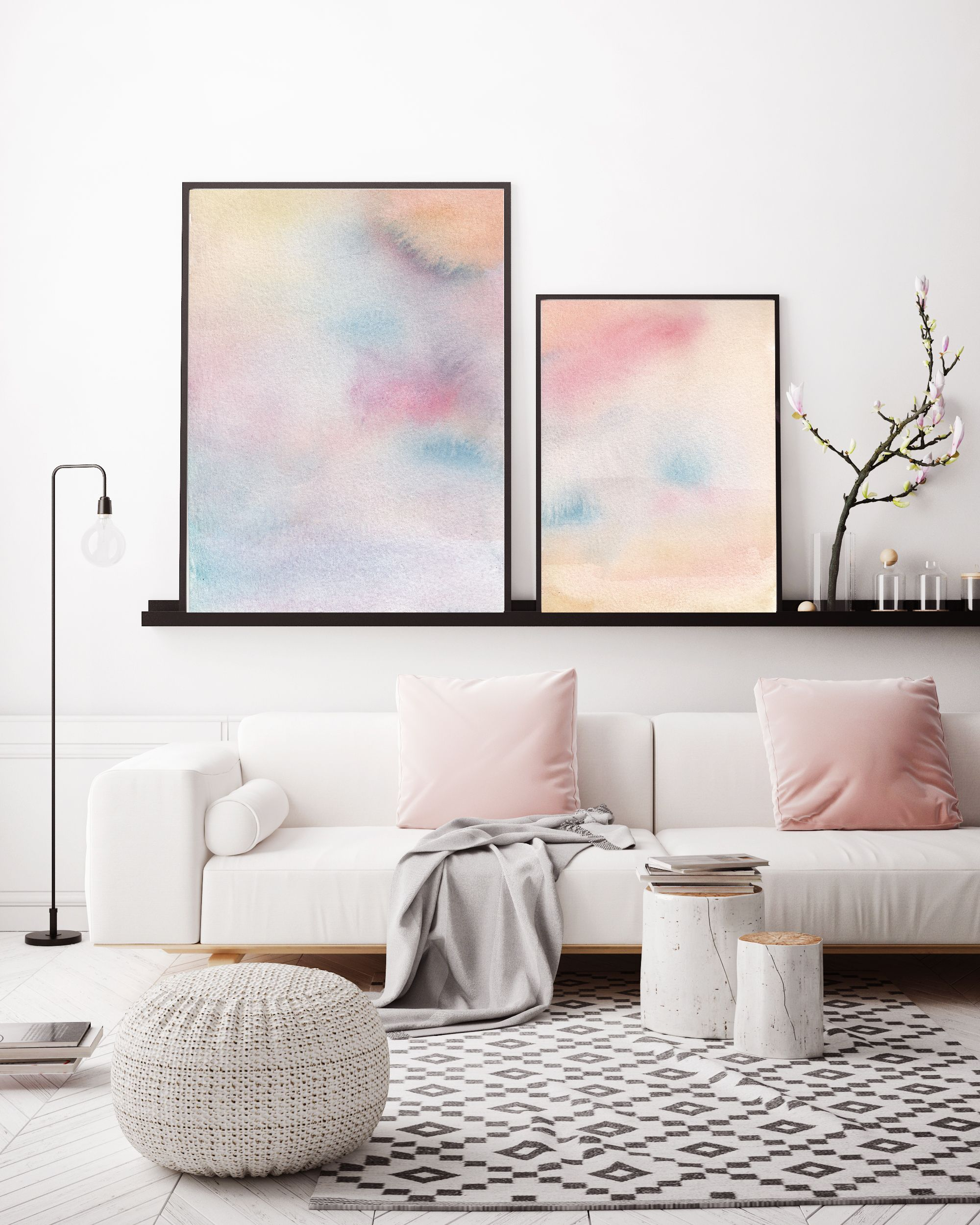 Pink blue abstract watercolor print contemporary art print abstract wall art modern wall