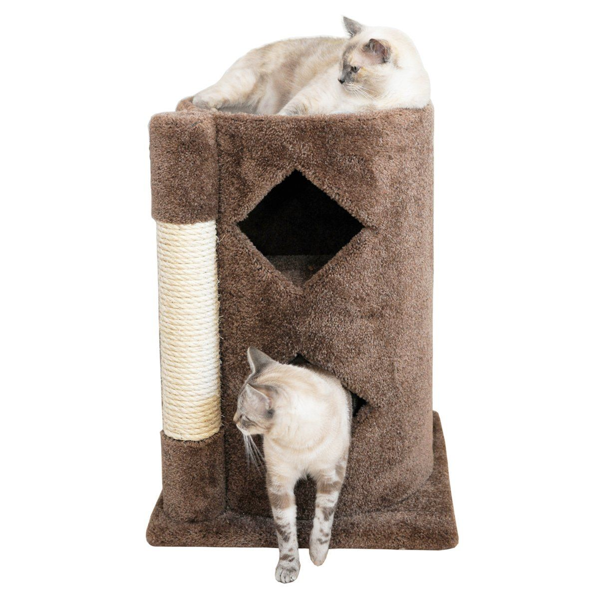 Wood Cat Condo Two Story With Sisal Brown Carpet Cats Condo Wood Cat Cat Bed Cat Condo