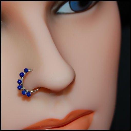 Indian Nose Ring Lapis Nose Ring Nose Ring Hoop Blue Nose