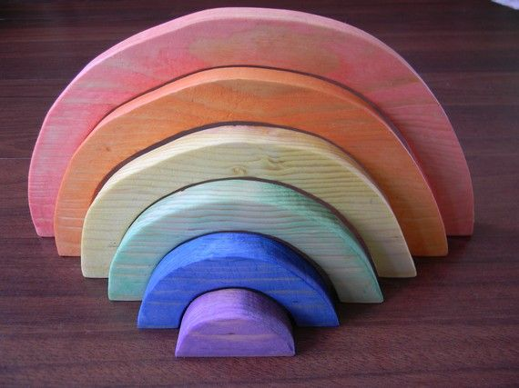 Waldorf inspired wooden stacking rainbow. I think it's delightful. The fact it was made by a 14 year old boy makes it even cooler.