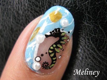 Nail Art Meliney Seahorse