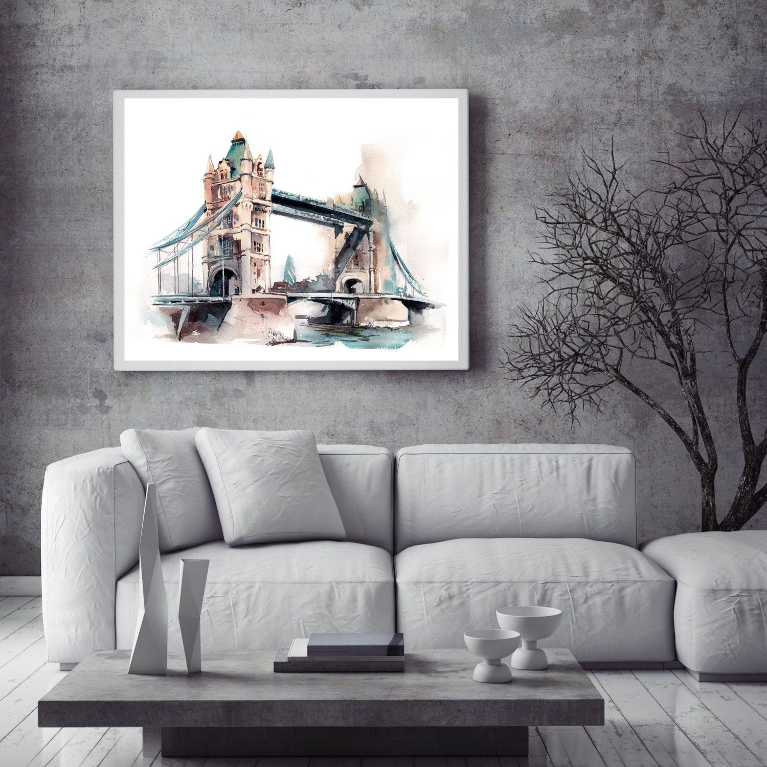 living room art prints%0A Tower Bridge  Art Print  Watercolor Painting print  London  Cityscape  Painting  Travel