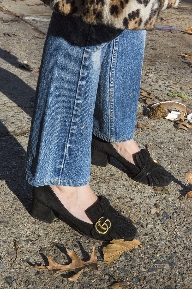 d7508937097 Gucci Marmont Fringe Suede Loafers on equally suave stylist Kathryn  Typaldos.