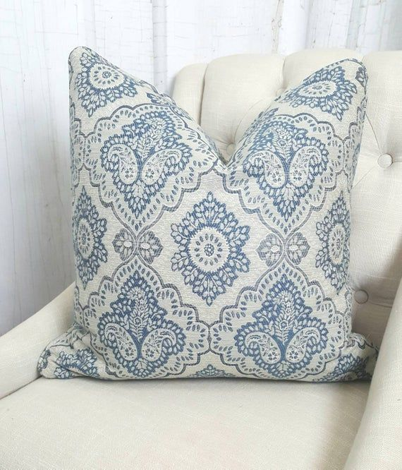 Blue Throw Pillow Covers Farmhouse Pillows 26x26
