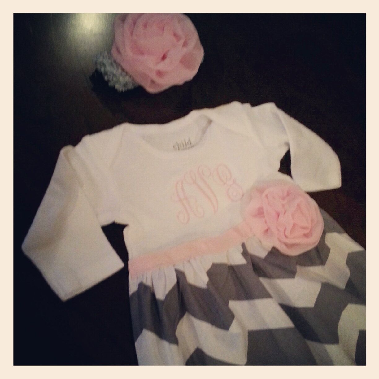 Baby layette gown, diva sack, coming home outfit, chiffon rose, gray chevron. $35.00, via Etsy.