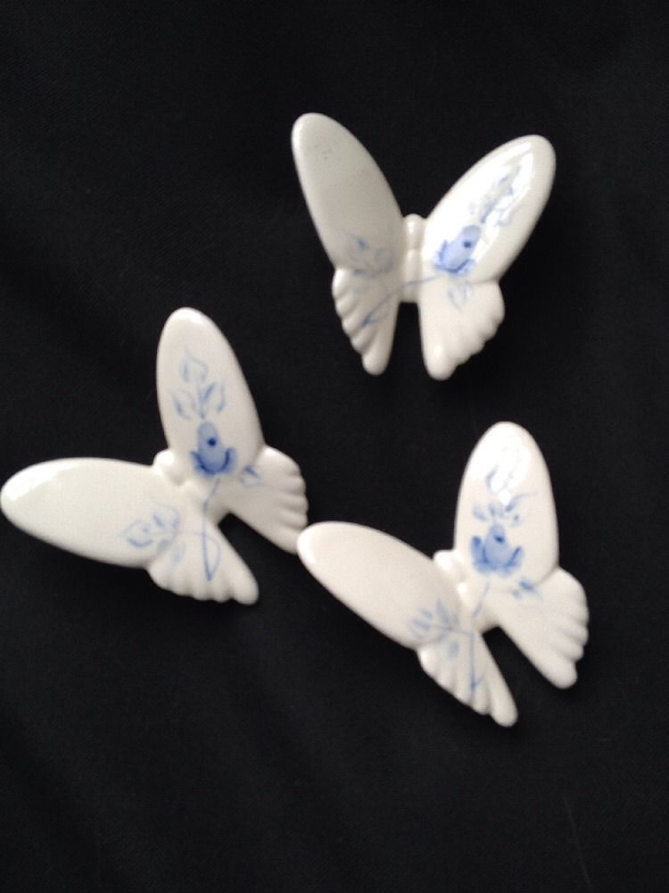 3 Ceramic Blue And White Butterflies Wall Art By Homco In