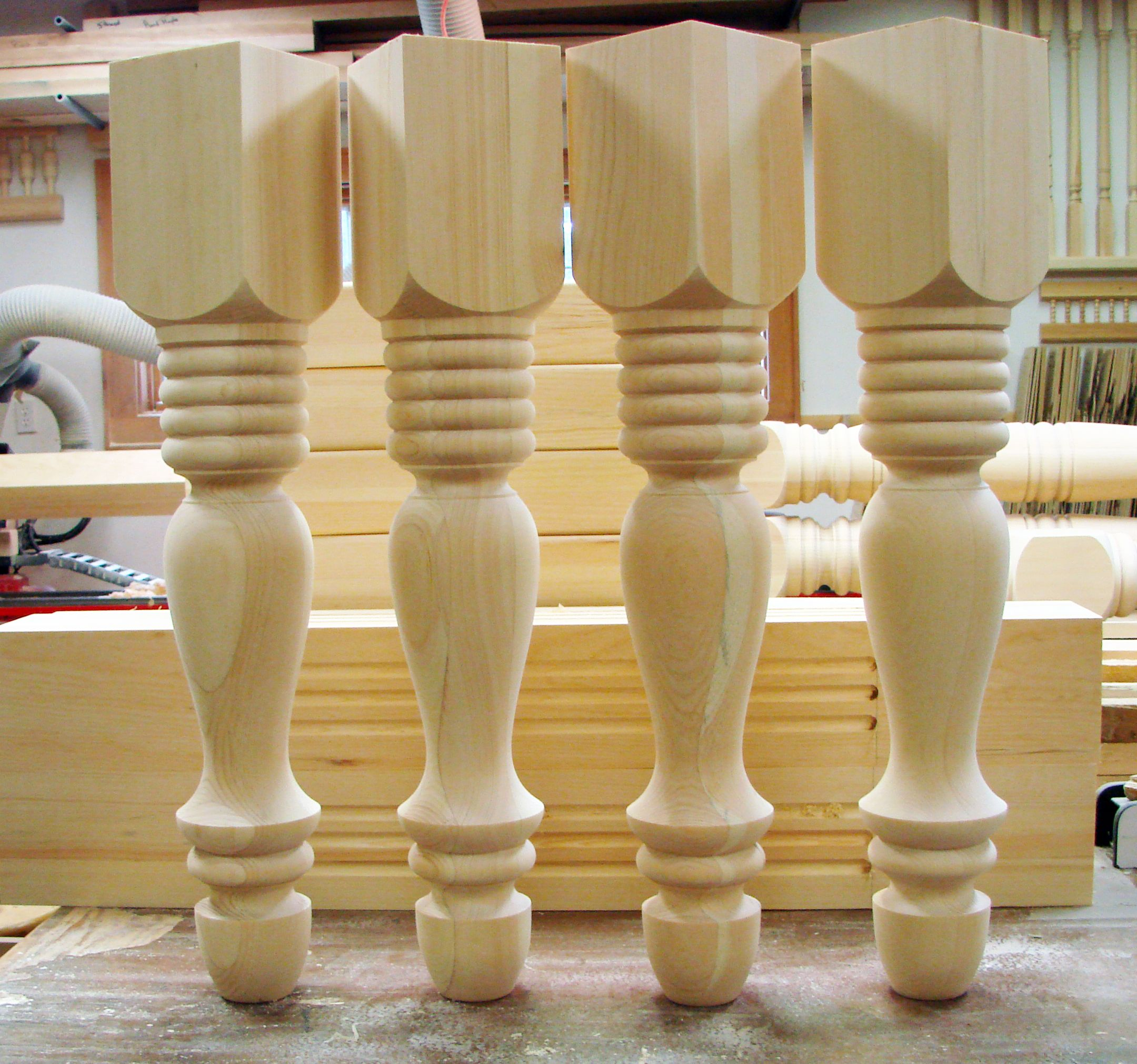 Huron Pattern Pine Table Legs By