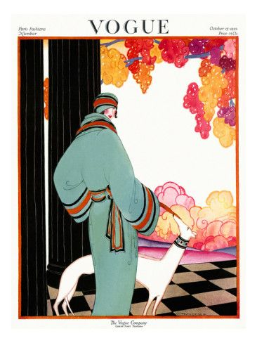 Vogue Cover - October 1922    A woman in a robelike turquoise coat with orange and black detailing pets her greyhound while standing on a columned, black-and-white terrace. In the background, fall leaves show their brilliant colors. The illustration, by Helen Dryden, appeared on the October 15, 1922, cover of Vogue.
