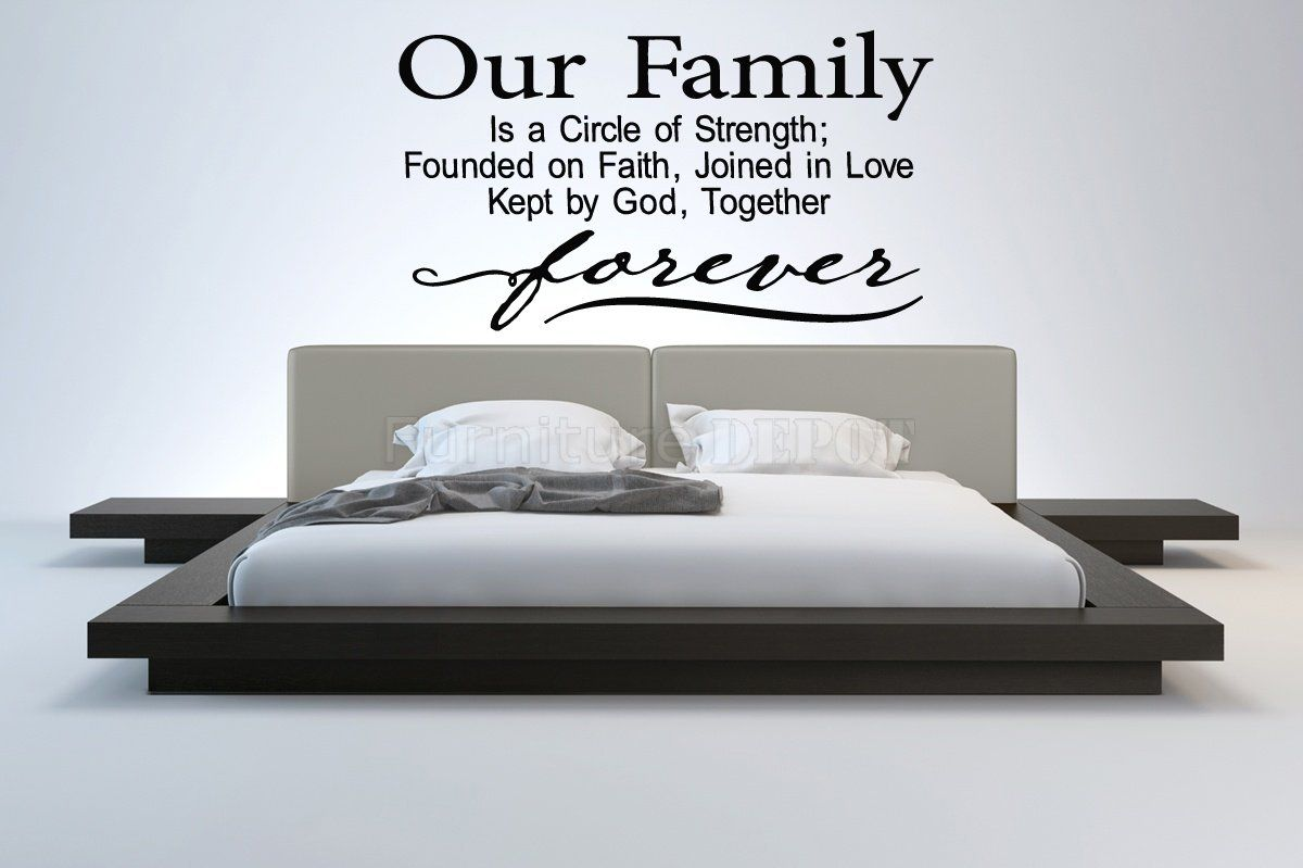 Wall decal sticker bedroom our family forever quote letterin drawing