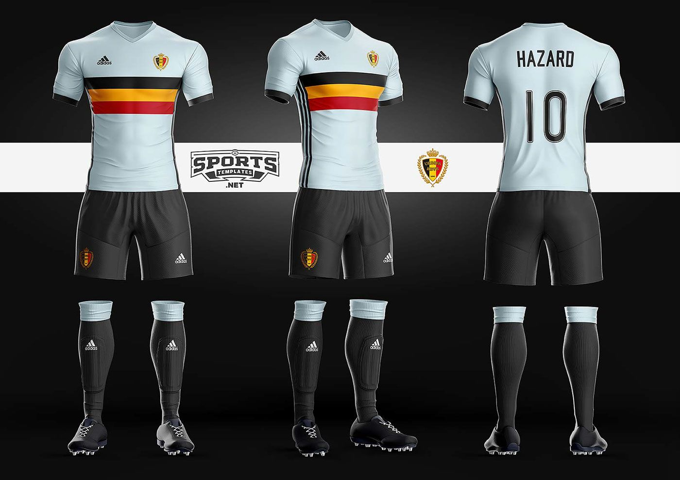 belgium soccer kit uniform template adidas sports mockups psd
