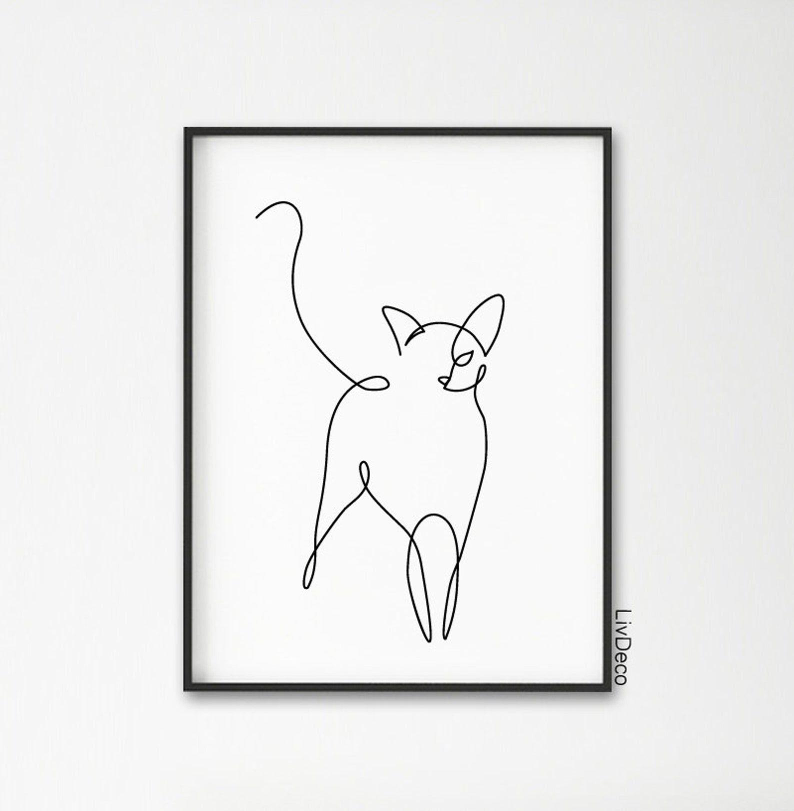 Abstrakte Katze eine Strichzeichnung, Wand-Dekor-Druck, Miimalist Kunst, Tiere druckbare Kunst, schwarzen und weißen großen Druck, einzelne durchgehende Linie