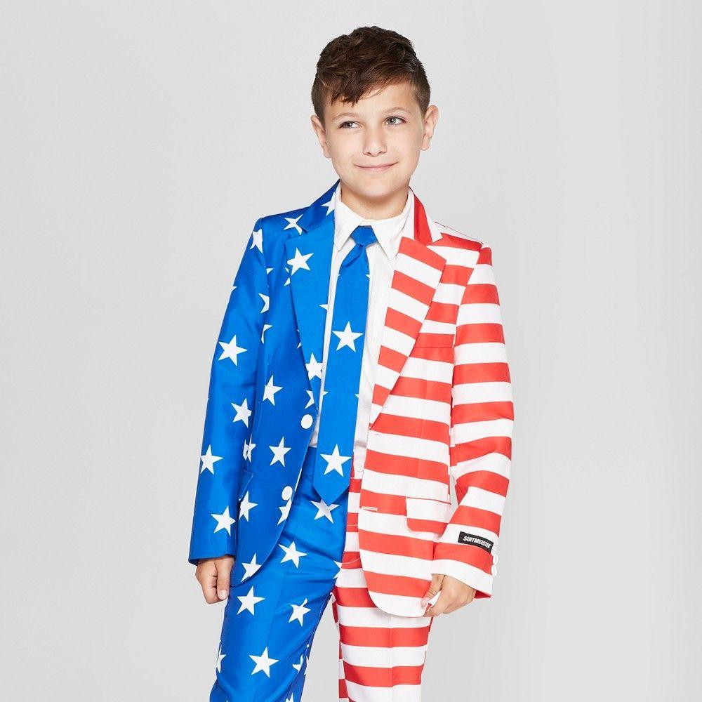 e670a9814 Suitmeister Boys  American Flag Full Suit Jacket - L Color ...