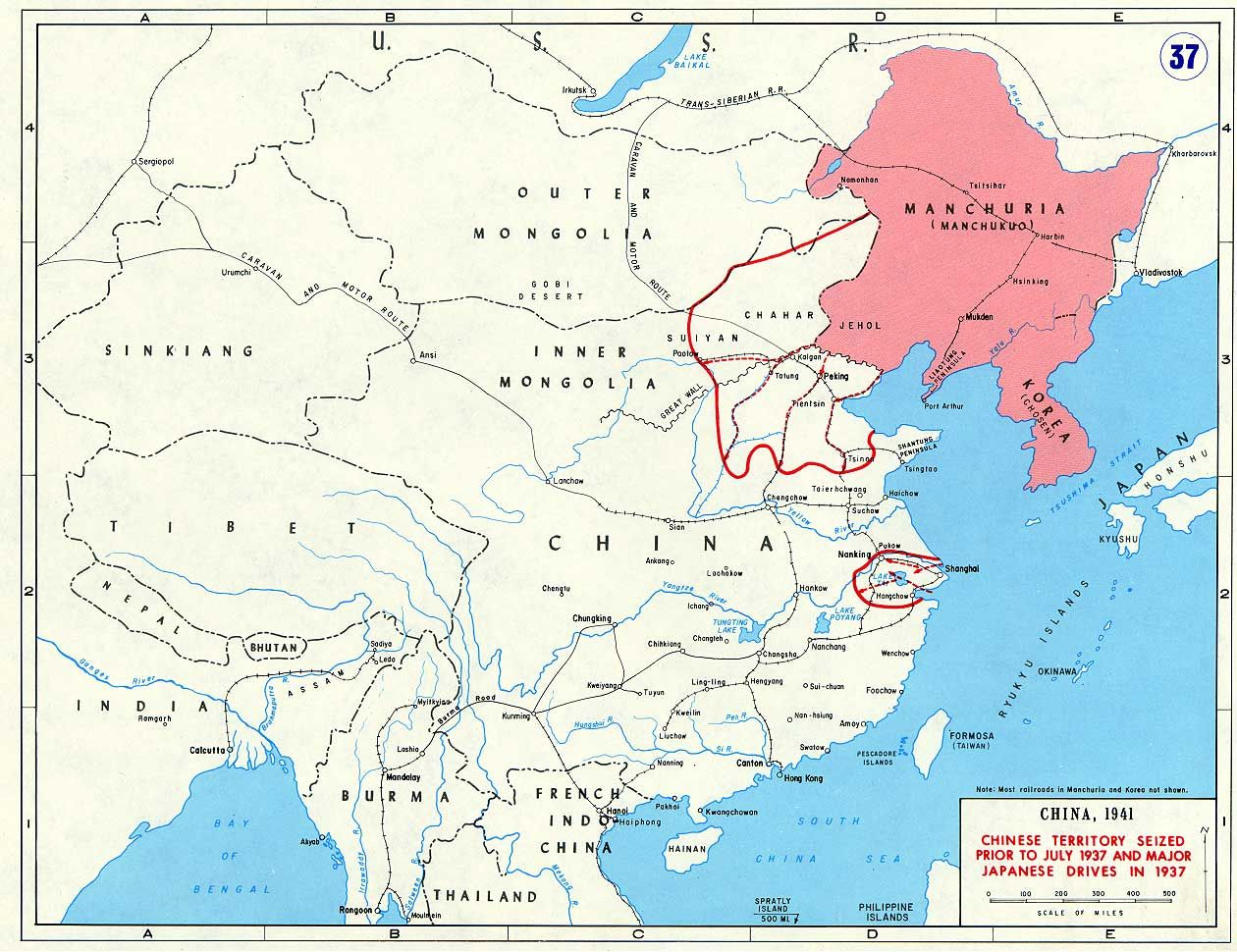 Chinese territory seized prior to july 1937 and major japanese map marking major japanese campaigns in china in 1937 find this pin and more on world war ii gumiabroncs Image collections