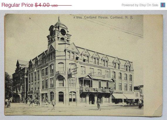 Cortland House Ny Postcard Upstate New York Antique Vintage Ephemera C1910s Hotel Hospitality