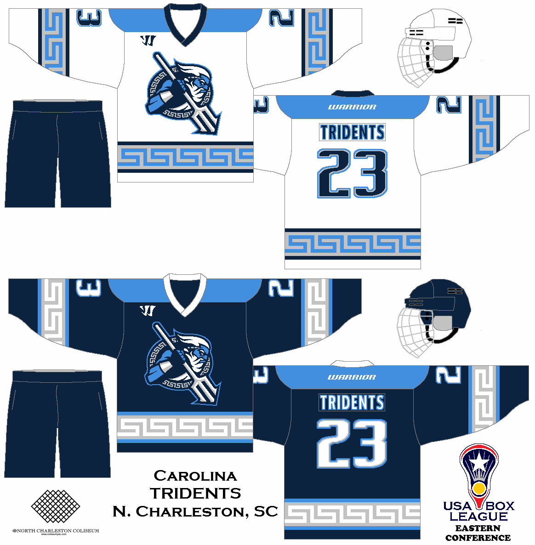 My Fictional Box Lacrosse League The Us Box Lacrosse League Carolina Tridents Uniform Set Concept Box Lacrosse Hockey Jersey Lacrosse