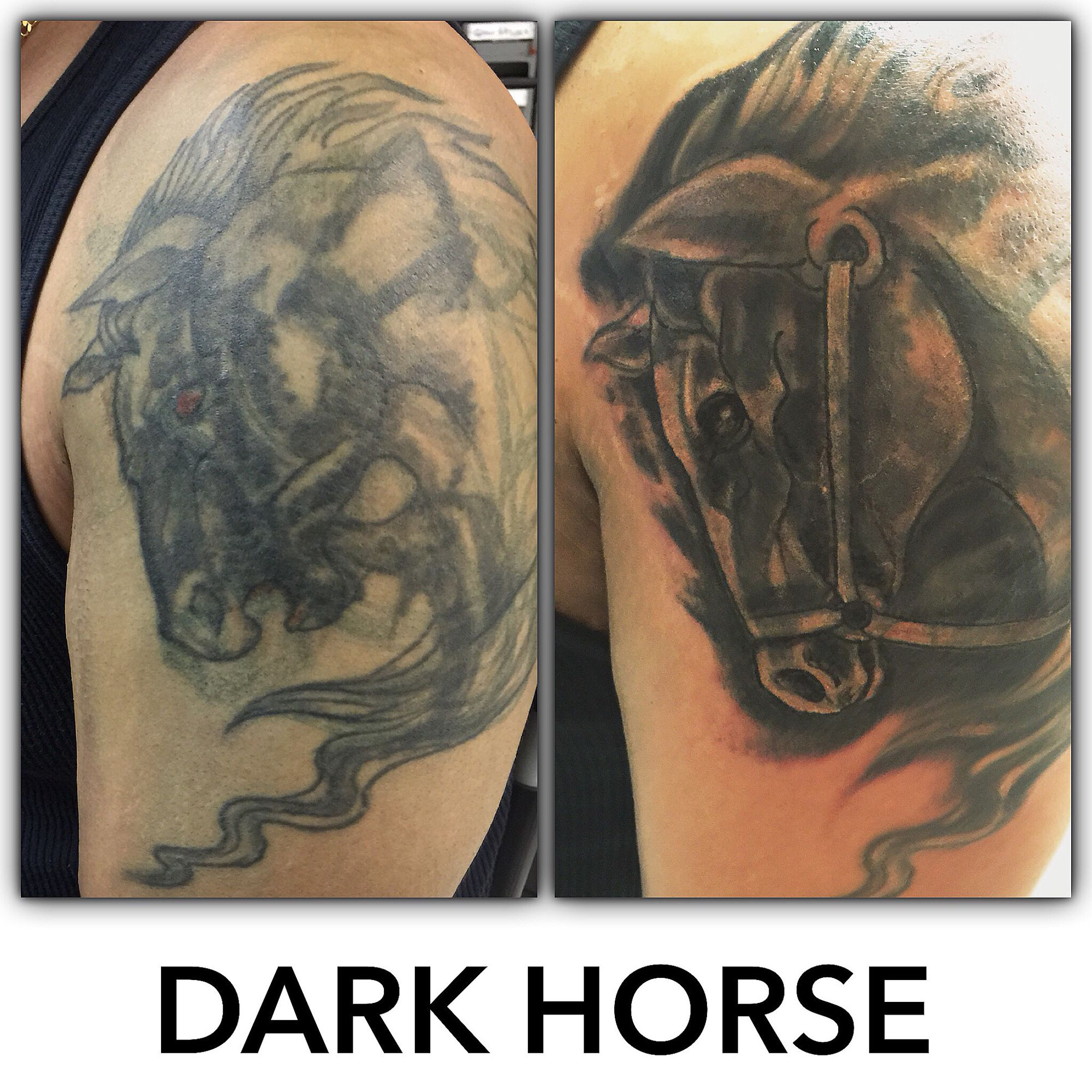 """ Beware of the Dark Horse "" a tattoo coverup by Don Catfish Gorospe"