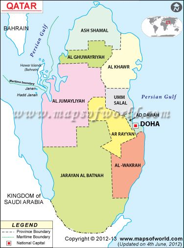 A map of Qatar. | Qatar | Map, Middle east, Doha Qatar Map on