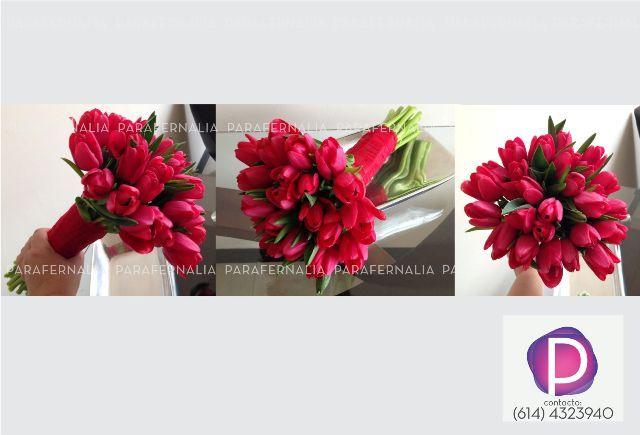 ramo de novia tulipanes rojos