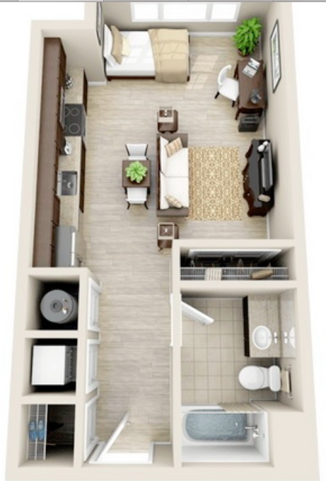 Nice Realistic Layout For Studio Apartment Small Apartment