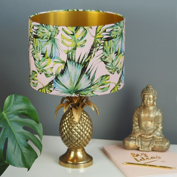 House Plants For Shady Rooms: Green & Blush Pink Tropical Plant Drum Lamp Shade