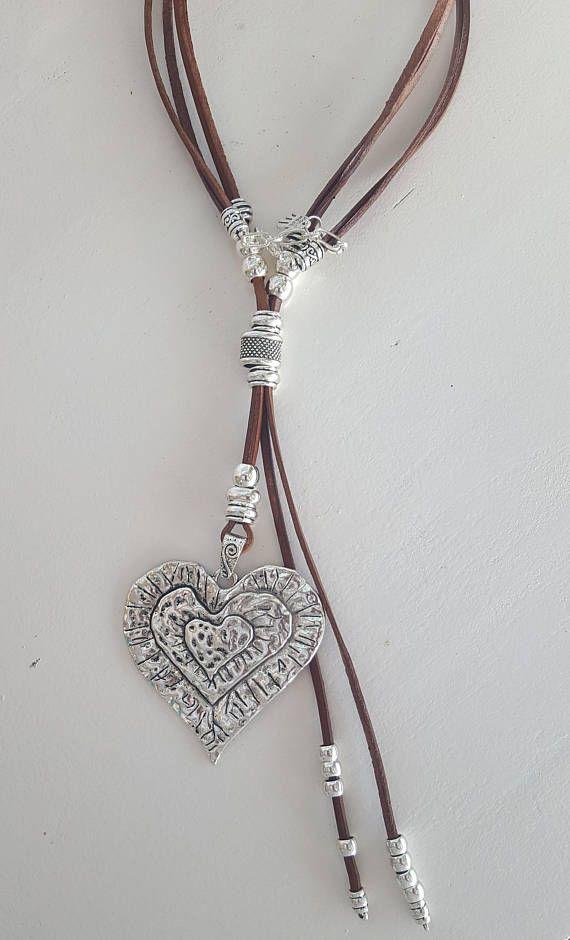 0dde36c1d39c beaded heart pendant Boho woman leather necklace