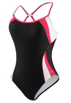 033674ed39 Speedo USA Swimwear Fitness Spiral Splice Clip Back Fitness in either  Zinnia and Black, Black and White, or Purple and White. $78.00