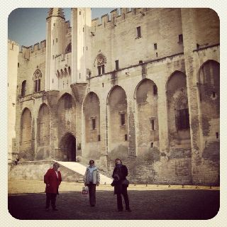 Posing by the rogue papal palace in Avignon, France with my Aged Aunt #1 and my Honourary Mum. My stance, far right, is due to the photographer, my Mum, taking FOREVER to take the shot. Mini-adventuring fun.
