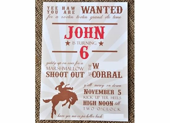 Cowboy Invitation Wording