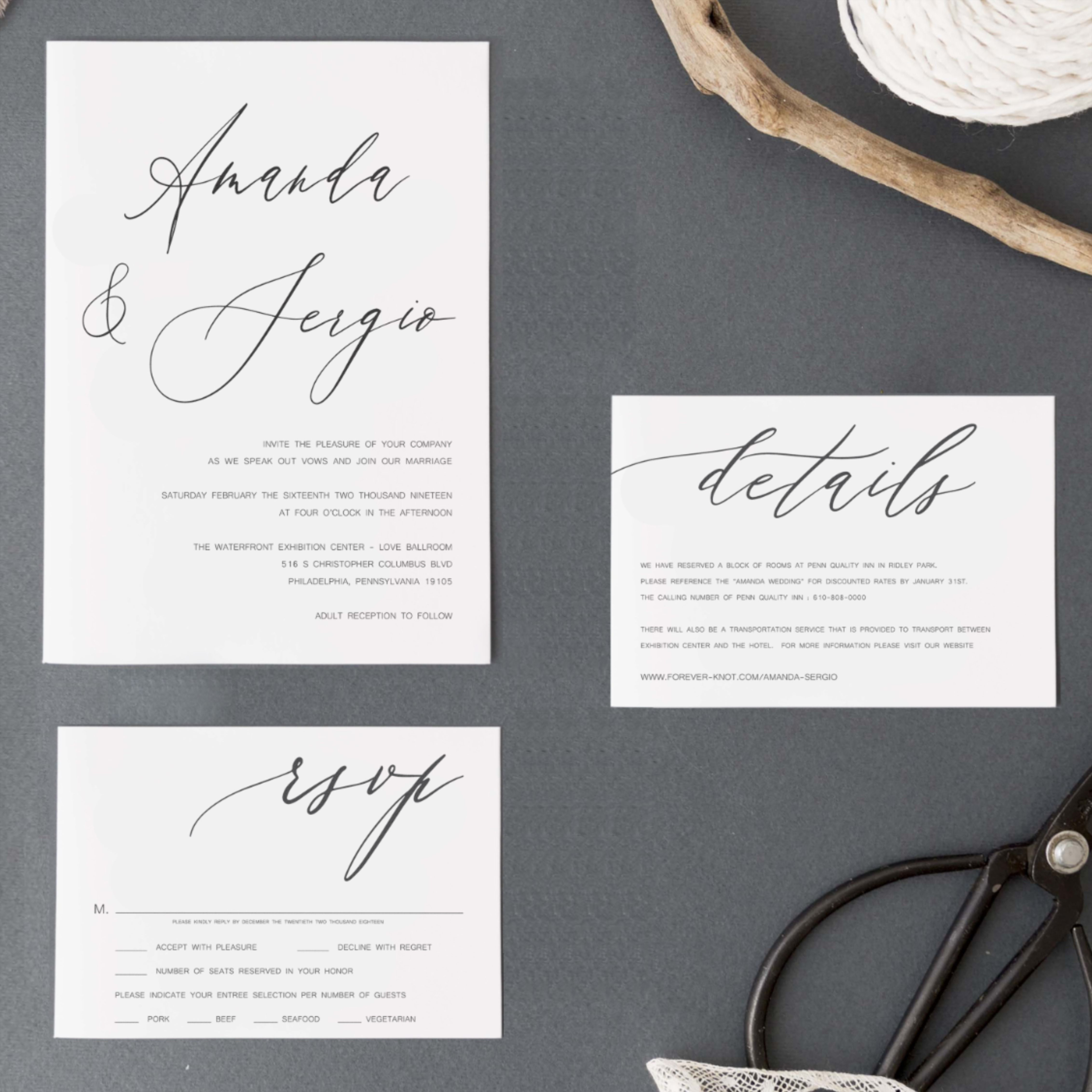 Printable Announcement Esme Wedding Save the Date Template Black and White Calligraphy Romantic Formal Calligraphy Wedding