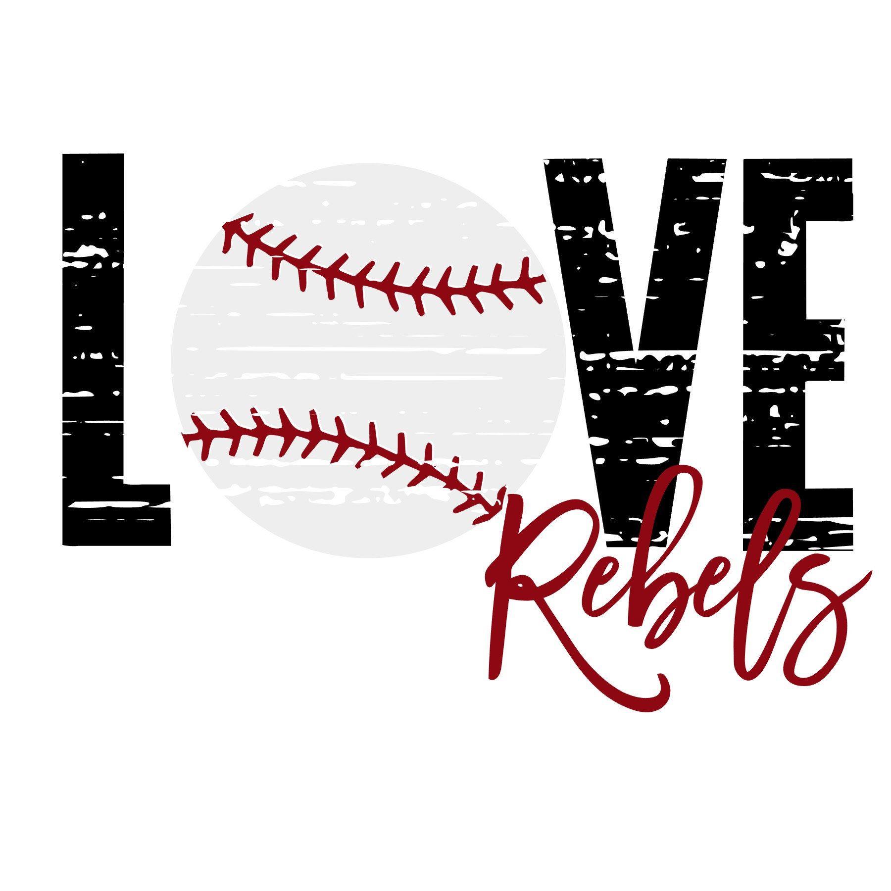 Download Love Distressed Baseball Rebels SVG   Baseball, Cheer mom ...